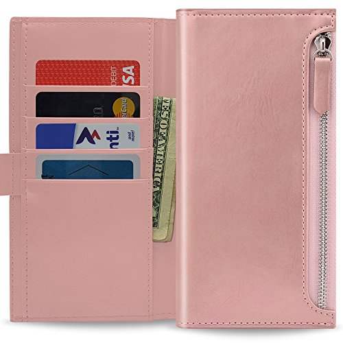 Qoosan [Zipper] LG V20 Wallet Case, Protective PU Leather Flip Folio with [Card Holders & Coin Purse] Kickstand & Magnetic Closure for LG V20 - Rose Gold