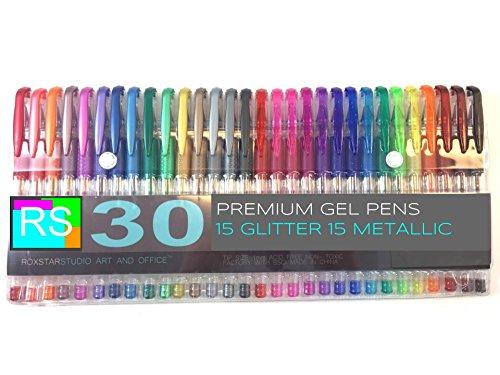 Roxstar Studio Gel Pen Set -30 Piece Gel Pen Set 15 Glitter and 15 Metallic