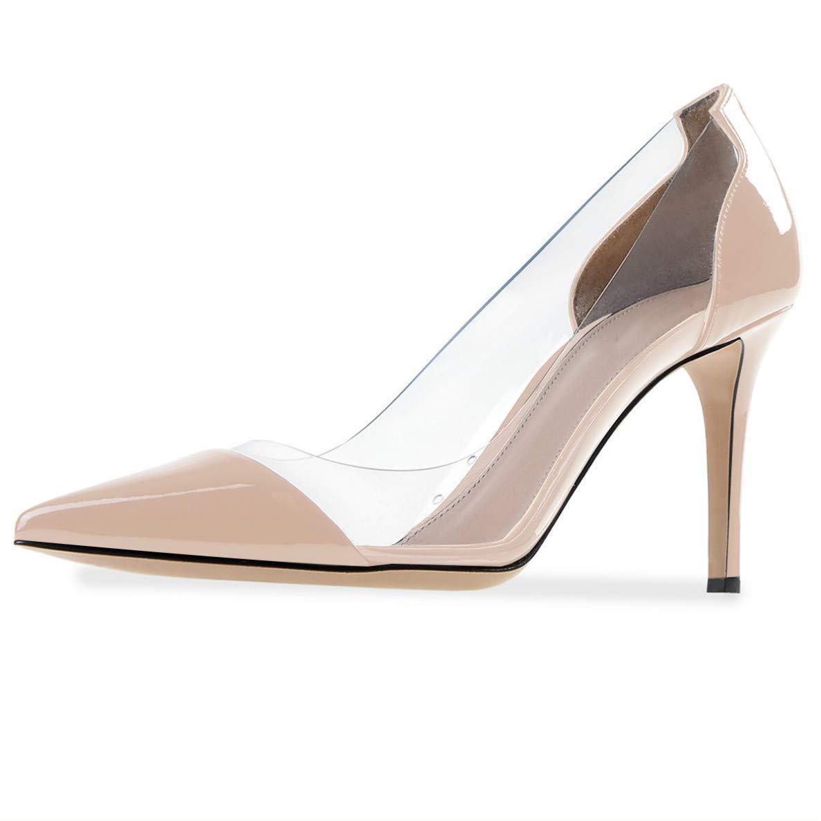 2b5a6692f4 Amazon.com | YODEKS Women's Cap Toe Pumps 85mm High Heel Transparent Shoes  Stiletto Dress Pumps | Pumps