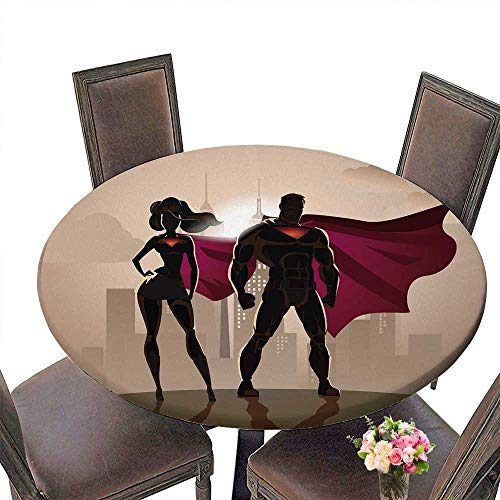 PINAFORE Modern Table Cloth Superhero Couple Male and Female Superheroes Posing in Front of a Light Indoor or Outdoor Parties 59