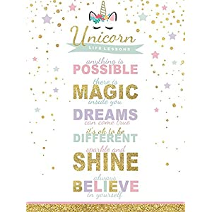 wallsthatspeak Girl's Room Unicorn Magic Life Lessons – Unframed Rainbow Sparkle 12×16 Inch Wall Decor Art Print Poster
