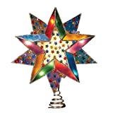 "Kurt S. Adler 8"" Multi 10-Point Capiz Star Christmas Tree Topper with Multi Star Gems, Nickel Finish"