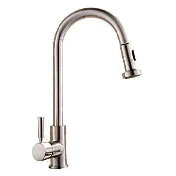 comllen best commercial single handle pull out sprayer stainless steel kitchen sink faucet pull down