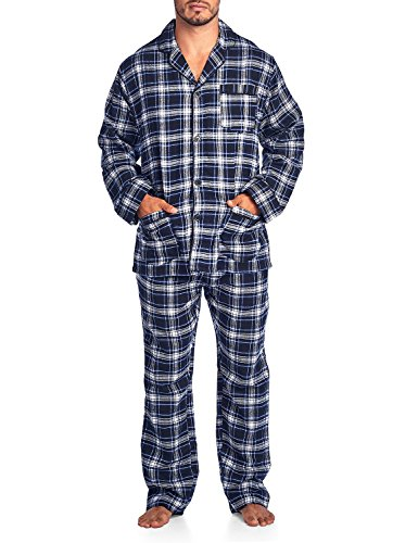 Plaid Flannel Lounger (Ashford & Brooks Mens Flannel Plaid Pajamas Long Pj Set - Black Blue Ivory - XX-Large)