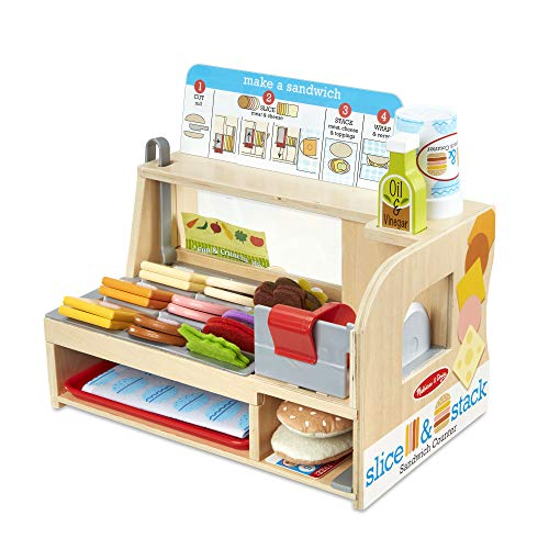 Save on Melissa & Doug Wooden Slice & Stack Sandwich Counter with Deli Slicer – 56Piece Pretend Play Foodpiece and more