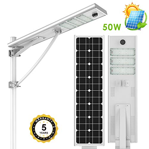(HPcom Solar LED Street Light Outdoor 50W, Auto On/Off Dusk to Dawn, Integrated Waterproof IP65 Floodlight with PIR Motion Sensor, All-in-one Cordless Lamp, Ultra-bright 5500 Lumen, Yard Light for Area)