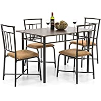 Best Choice Products 5-Piece Dining Set W/ Wooden Table Top and Metal Frame