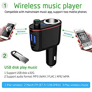 FM Transmitter bluetooth, Kitbeez 3 in 1 Car Adapter, Cigarette Lighter Socket Dual USB Charger Wireless Digital Aux in-car Bluetooth Receiver MP3 Player Stereo Radio Adapter car for iPhone Samsung