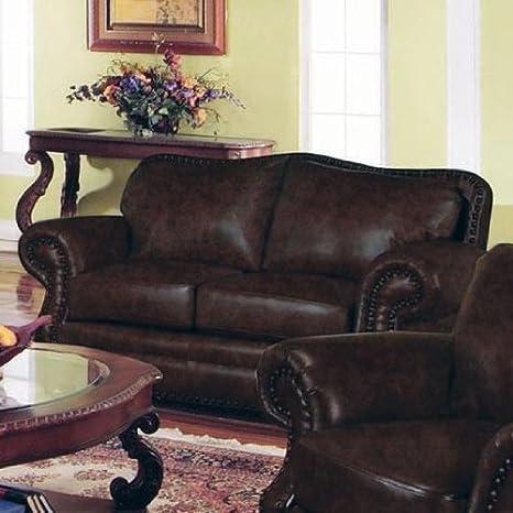 Amazon Com Loveseat Sofa Nail Head Trim Dark Burgundy Leather Home