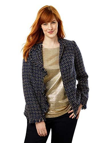 Jessica London Women's Plus Size Sparkle Tweed Jacket - Navy Gold Tweed, 18 W