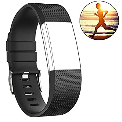 Fitbit Charge 2 Bands, Marge Plus Soft Silicone Replacement Classic Wristband Sport Band Strap with Metal Buckle Clasp for Fitbit Charge 2 -Large, Black