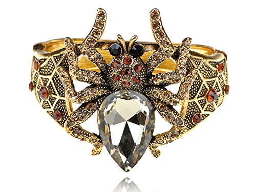 Rhinestone Big Spider Halloween Bangle Bracelet