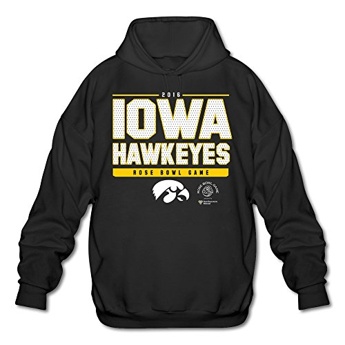 Agongda Man IOWA HAWKEYES BLACK 2016 ROSE BOWL BOUND SNAP Sweatshirt L ()