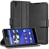 Sony Xperia Z3+ Wallet Case - VENA [vSuit] Draw Bench PU Leather Wallet Flip Cover with Stand and Card Slots for Sony Xperia Z3+ (Black)