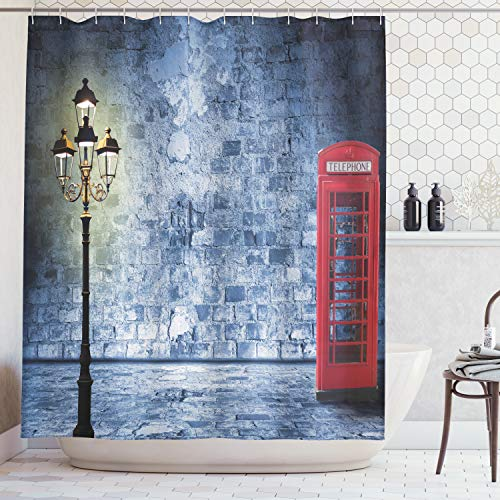 Ambesonne Lantern Decor Collection, Vintage Scene with Brick Wall and British Phone Box in Dark Scary Night Twilight Painting, Polyester Fabric Bathroom Shower Curtain, 75 Inches Long, Gey Red