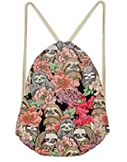 UNICEU Colorful Flower Sloth Print Drawstring Backpack Travel Gymsack Shoulder Gym Bag