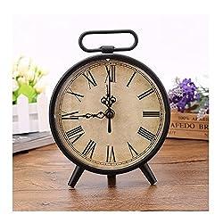 Classic Retro Antique Design European Style Decorative Mantel Clock Mute Silent Quiet Quartz Movement Metal Frame Desk Table Clocks