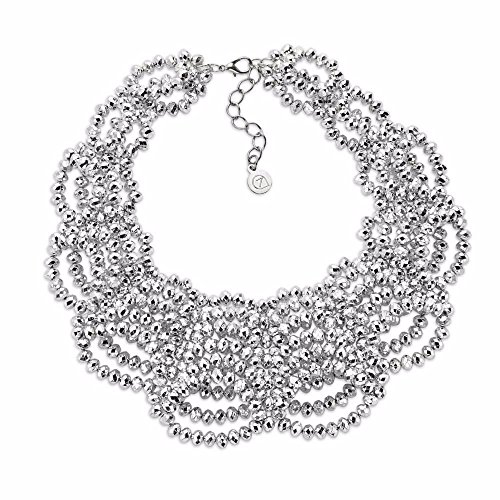 No Limits Collared Fashion Necklace by 7 Charming Sisters | Silver Beaded Lace Statement Necklace for (Beaded Silver Necklace)