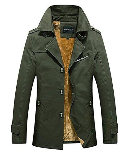 RUIYUNS Mens Winter Warm Thick Outdoor Plus Cotton Windbreaker Warm Fur Collar Slim Fit Jacket Outwear Parka Coat