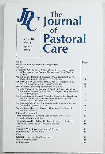 The Journal of Pastoral Care: Volume 48, Number 1, Spring 1994