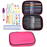 Crochet Hooks Set, Buytra 49 Pieces Aluminum Knitting Needles Kit Weave Yarn Sewing Needles with Travel Zipper Case Organizer for Beginners, Experienced Crocheters (Pink Case)