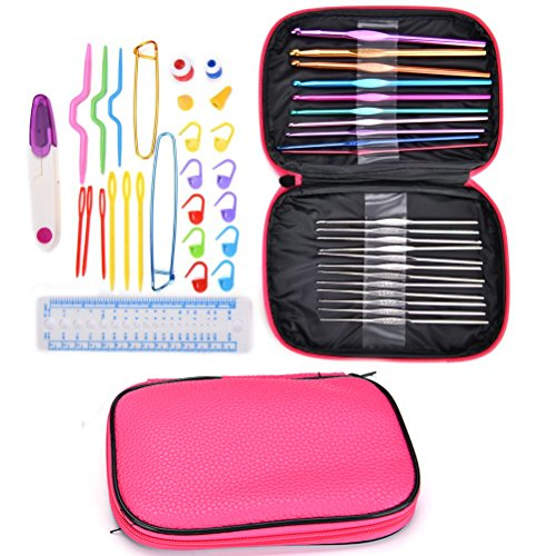 Crochet Hooks Set, Buytra 49 Pieces Aluminum Knitting Needles Kit Weave Yarn Sewing Needles with Travel Zipper Case Organizer for Beginners, Experienced Crocheters (Pink Case) by buytra
