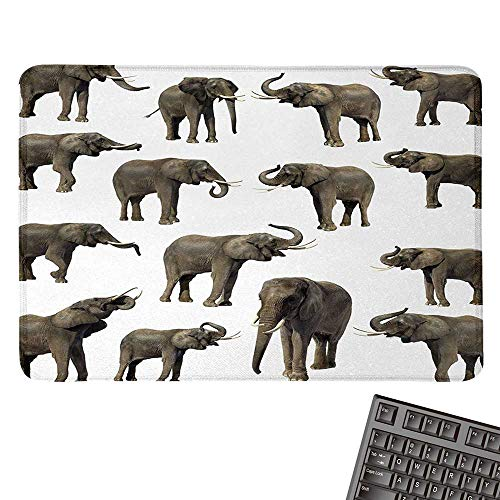 ElephantE-Sports Gaming Mouse PadGroup of Elephants Tusk Ear Large Wild Life Jungle Mammal Forest Jungle LifeNonslip Rubber Base 15.7