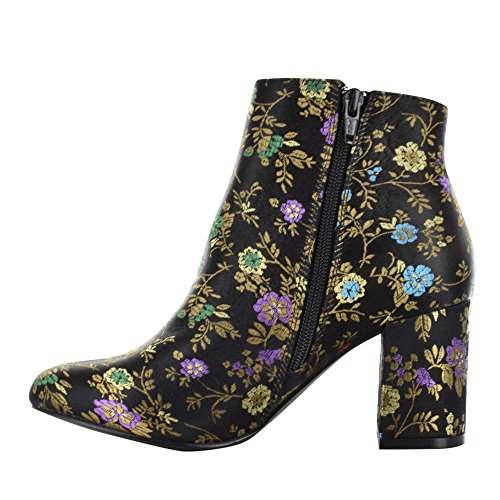 Boots Brodie Floral Ankle Fabric Womens Fashion Black Almond Diba Toe qwFP0x5