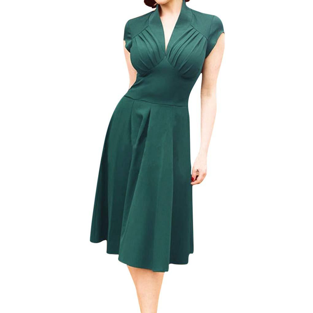 Women's V Neck Swing Midi Dress Formal Short Sleeve Flare Solid Pleated Flowy Slim Long Work Party Dresses (XX-Large, Green)