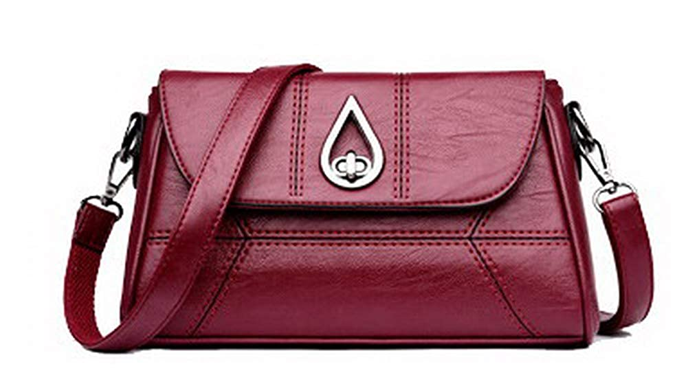 Claret AmoonyFashion Women's Casual Shopping Tote Bags Pu Crossbody Bags,BUTBS220725