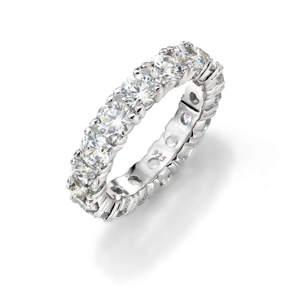 NYC Sterling 4mm Sterling Silver 925 Cubic Zirconia Cz Eternity Engagement Wedding Band Ring (7)