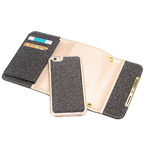 Wallet Case Cover Leather Case iPhone Plus PU 8 with Proof Cards Case Inch Cover Protective Stand 8 iPhone Flip Stylish 5 Plus Women Handbag For for Wallet Pink Black A03 Rose Scratch 5 Girls Holder TvwUU