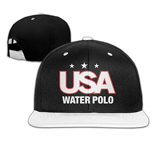 Usa Water Polo Flat Snapback Hat Cap Men Women ( 5 Colors ) White