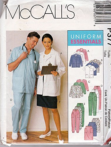 McCall's Pattern P377 ©1998 UNISEX Uniforms; Lab Jacket, Cardigan, Pants, Skirt, Size Chest 31-44 (Lab Cardigan)