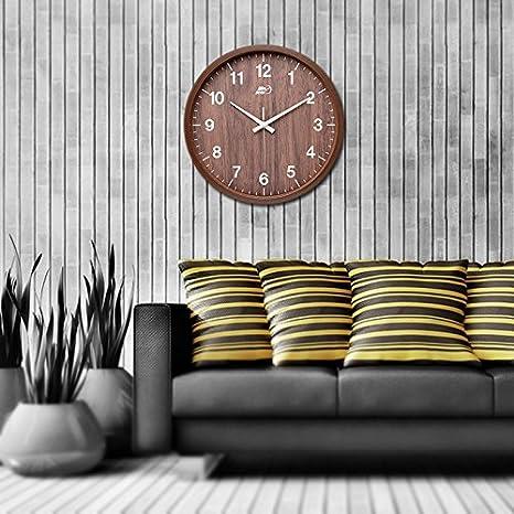 ENJOLE Reloj de pared Silencio dibujo retro Reloj digital de madera redonda dormitorio minimalista moderno relojes de cuarzo Creative,12 pulgadas pulgadas ...