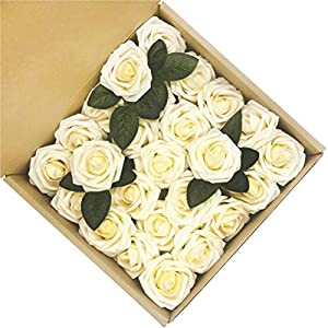 5ccm.Young Fake Flowers Ivory Roses 50pcs Artificial Roses for DIY Wedding Bouquets Centerpieces Arrangements Party Baby Shower Party Home Decorations 15