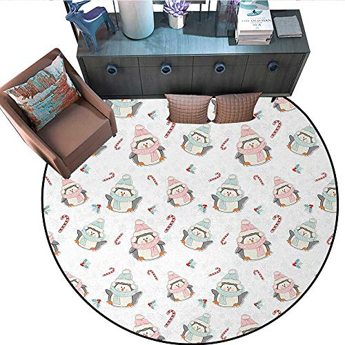 Candy Cane Non-Slip Round Rugs Cute Christmas Boy and Girl Penguins with Scarf Hats Traditional Holly Berries Living Dinning Room and Bedroom Rugs (55