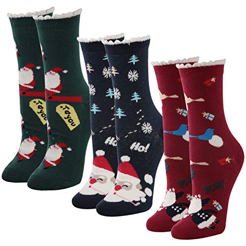 Christmas Dress Socks,Unisex Casual Novelty Holiday Socks Christmas Stockings Gift with Greeting Cards 3 Pairs Santa Time and River ()