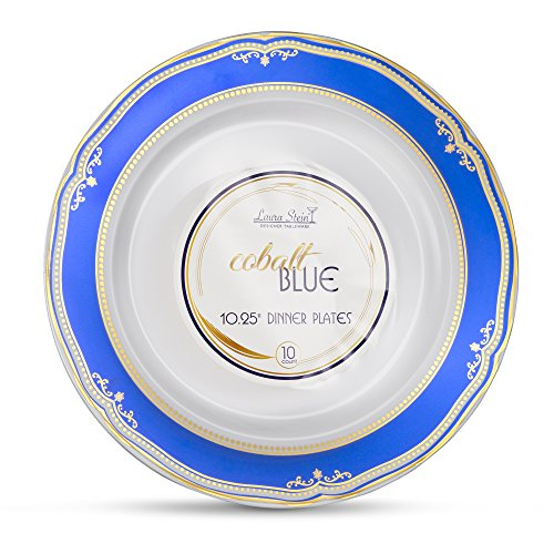 - Laura Stein Designer Tableware Premium Heavyweight 10'' Inch White Plate And Blue & Gold Border Plastic Party & Wedding Plates Cobalt Blue Series Disposable Dishes Pack of 40 Plates