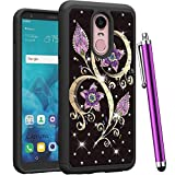 CAIYUNL for LG Stylo 4 Case, LG Q Stylus Case, LG Stylus 4 Case Luxury Bling Studded Rhinestone Shockproof Hybrid Dual Layer Protective Heavy Duty Hard PC&TPU Cover for LG Stylo 4 -Black Purple Flower