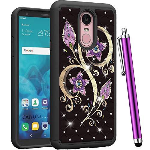 CAIYUNL for LG Stylo 4 Case, LG Q Stylus Case, LG Stylus 4 Case Luxury Bling Studded Rhinestone Shockproof Hybrid Dual Layer Protective Heavy Duty Hard PC&TPU Cover for LG Stylo 4 -Black Purple Flower
