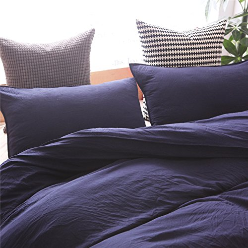 Heaven Home textile100% Washed Cotton Duvet Cover Soft and Comfortable Bedding 2-Pieces (Navy Twin) by Heaven home textile (Image #1)