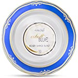 Laura Stein Designer Tableware Premium Heavyweight 10'' Inch White Plate And Blue & Gold Border Plastic Party & Wedding Plates Cobalt Blue Series Disposable Dishes Pack of 40 Plates