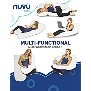NUVU BABY Full Body Pregnancy Pillow – Extra Soft U Shaped Support Cushion for Maternity Nursing and Back Pain Relief - 100% Cotton Washable Cover