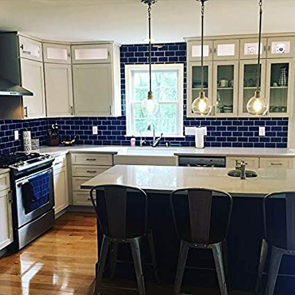 Stick on Tiles Backsplash for Kitchen /& Bathroom in Deep Blue STICKGOO Peel and Stick Subway Tile Pack of 1, Thicker Design