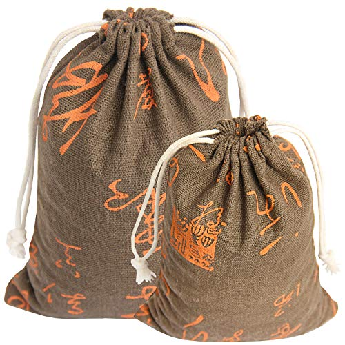 10 Pack Drawstring Burlap Gift Bags Linen Storage Bag for DIY Craft- Pinowu Cotton Sachets Bag Jewelry Pouch for Wedding Party (5pcs 5x7