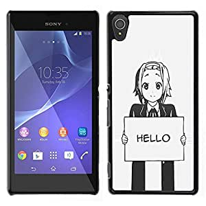 Design for Girls Plastic Cover Case FOR Sony Xperia T3 Hello Grey Anime Japanese Cartoon Message OBBA