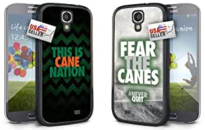 """This is Cane Nation and """"Fear the Canes"""" Chevron Sports Black Plastic Cover Case COMBO TWO PACK for Samsung Galaxy S5"""