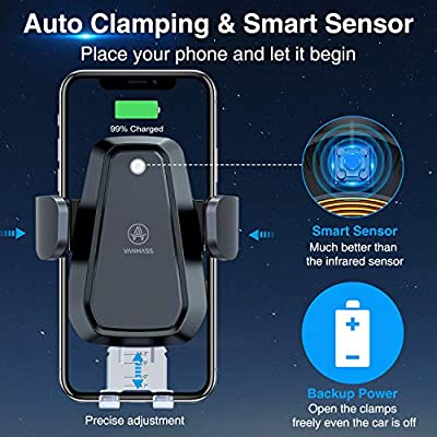 VANMASS 10W Fast Wireless Car Charger Mount, Auto Clamping, Qi Thermostasis Charging, QC 3.0 Car Charger Supplied, Ideal for iPhone 11/11 Pro/XR/XS/X/8, Samsung S20/Note 10/S10/S9/S8/S7【Black】