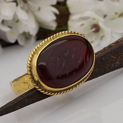 Carved Designer Ring (Sterling Silver 925k Hammered Designer Ottoman Carved Carnelian Ring 24k Yellow Gold Over By Omer Size 7)